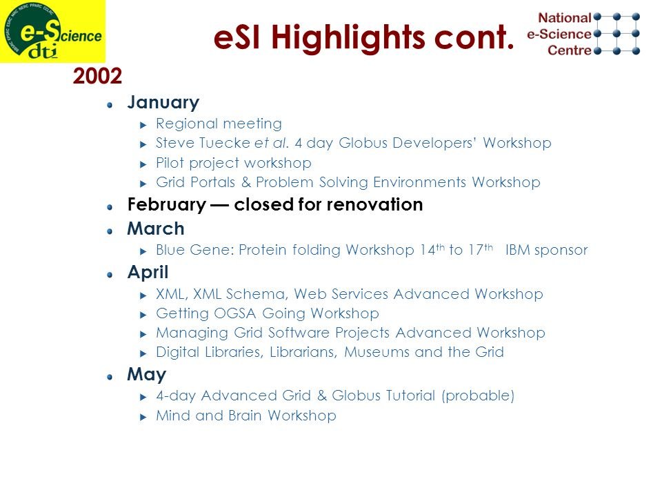 eSI Highlights cont. 2002 January Regional meeting Steve Tuecke et al.