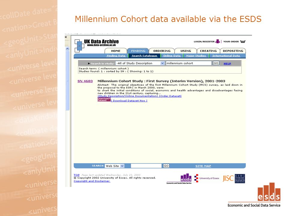 Millennium Cohort data available via the ESDS