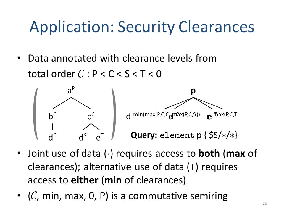 Data annotated with clearance levels from total order C : P < C < S < T < 0 Joint use of data ( ¢ ) requires access to both (max of clearances); alternative use of data (+) requires access to either (min of clearances) ( C, min, max, 0, P) is a commutative semiring p d min(max(P,C,C),max(P,C,S)) e max(P,C,T) Application: Security Clearances 16 p d Cd C e T aPaP bCbC cCcC dCdC dSdS eTeT Query: element p { $S/ ¤ / ¤ }