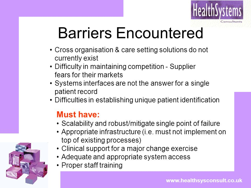 Barriers Encountered www.healthsysconsult.co.uk Cross organisation & care setting solutions do not currently exist Difficulty in maintaining competition - Supplier fears for their markets Systems interfaces are not the answer for a single patient record Difficulties in establishing unique patient identification Must have: Scalability and robust/mitigate single point of failure Appropriate infrastructure (i.e.
