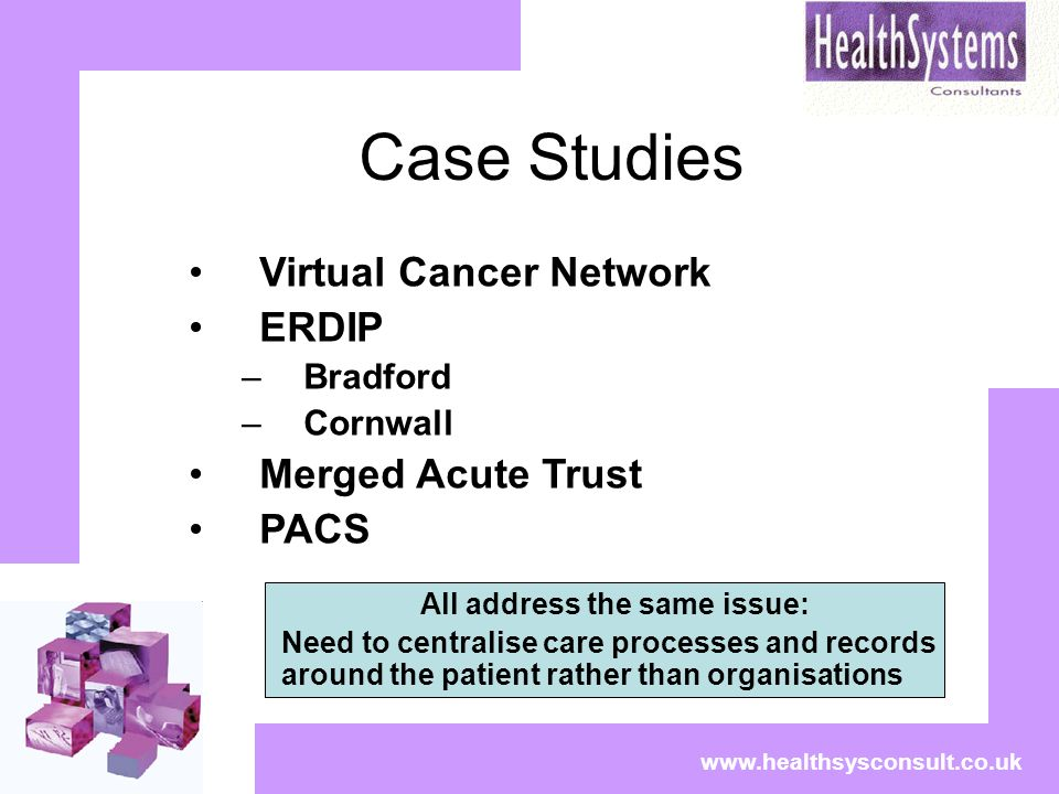 Case Studies Virtual Cancer Network ERDIP –Bradford –Cornwall Merged Acute Trust PACS www.healthsysconsult.co.uk All address the same issue: Need to c