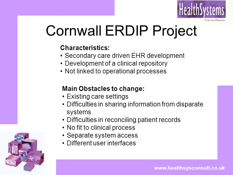 Cornwall ERDIP Project www.healthsysconsult.co.uk Characteristics: Secondary care driven EHR development Development of a clinical repository Not link
