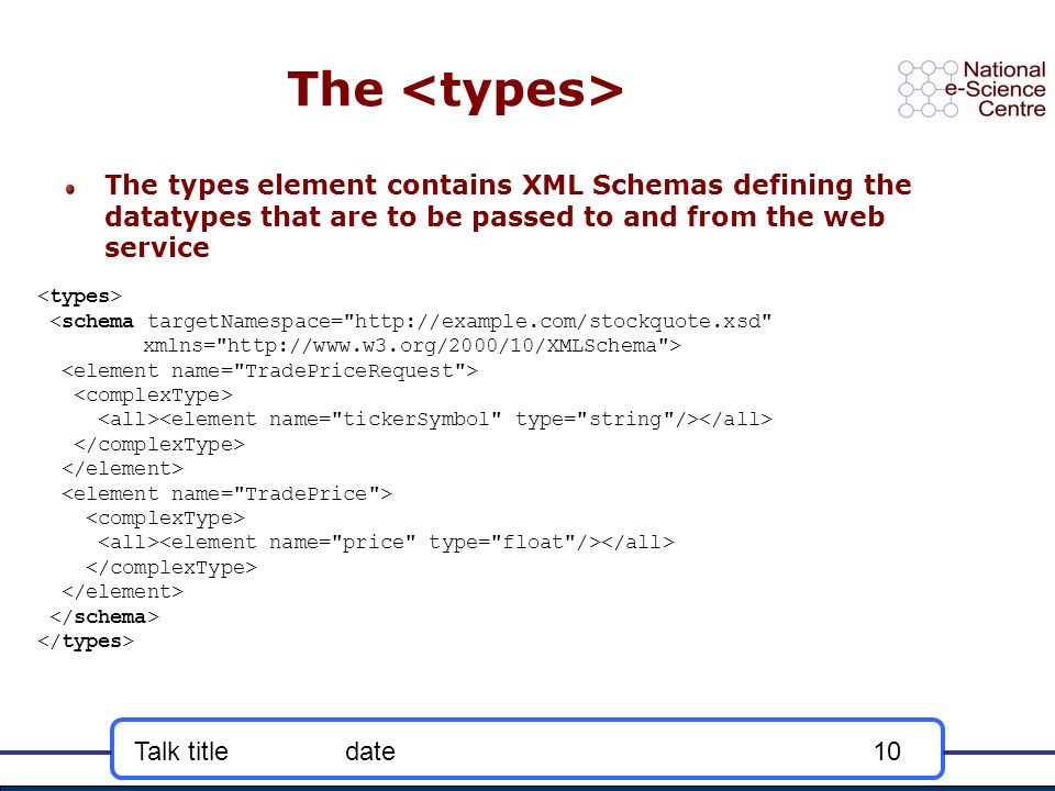 Talk titledate10 The The types element contains XML Schemas defining the datatypes that are to be passed to and from the web service