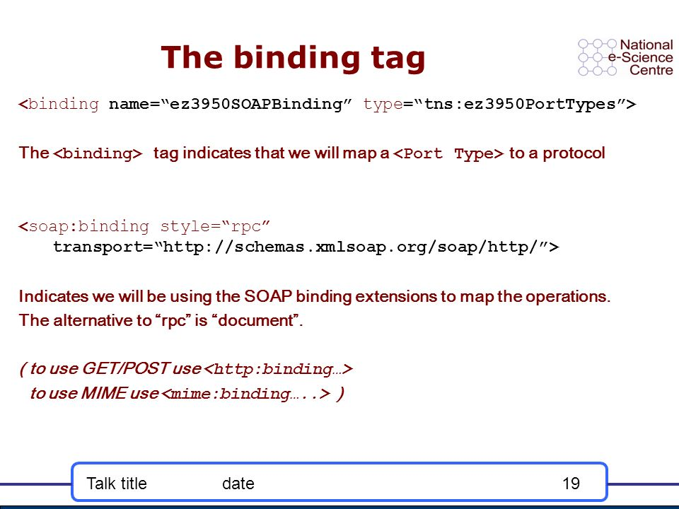 Talk titledate19 The binding tag The tag indicates that we will map a to a protocol Indicates we will be using the SOAP binding extensions to map the