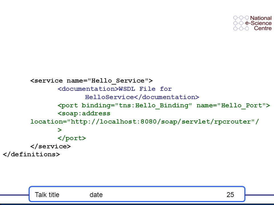 Talk titledate25 WSDL File for HelloService