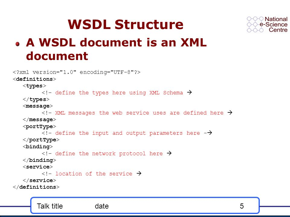 Talk titledate5 WSDL Structure A WSDL document is an XML document