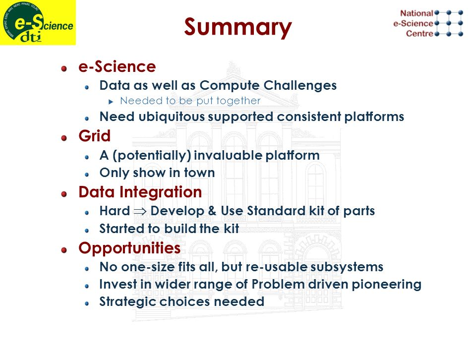 Summary e-Science Data as well as Compute Challenges Needed to be put together Need ubiquitous supported consistent platforms Grid A (potentially) invaluable platform Only show in town Data Integration Hard Develop & Use Standard kit of parts Started to build the kit Opportunities No one-size fits all, but re-usable subsystems Invest in wider range of Problem driven pioneering Strategic choices needed