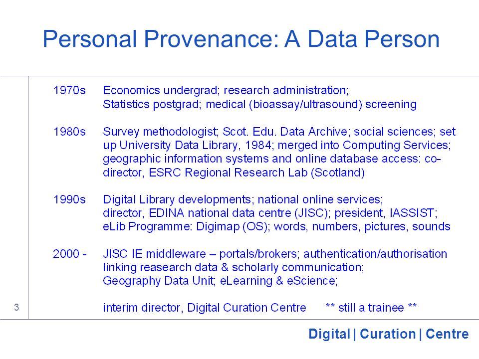 Digital | Curation | Centre 3 Personal Provenance: A Data Person