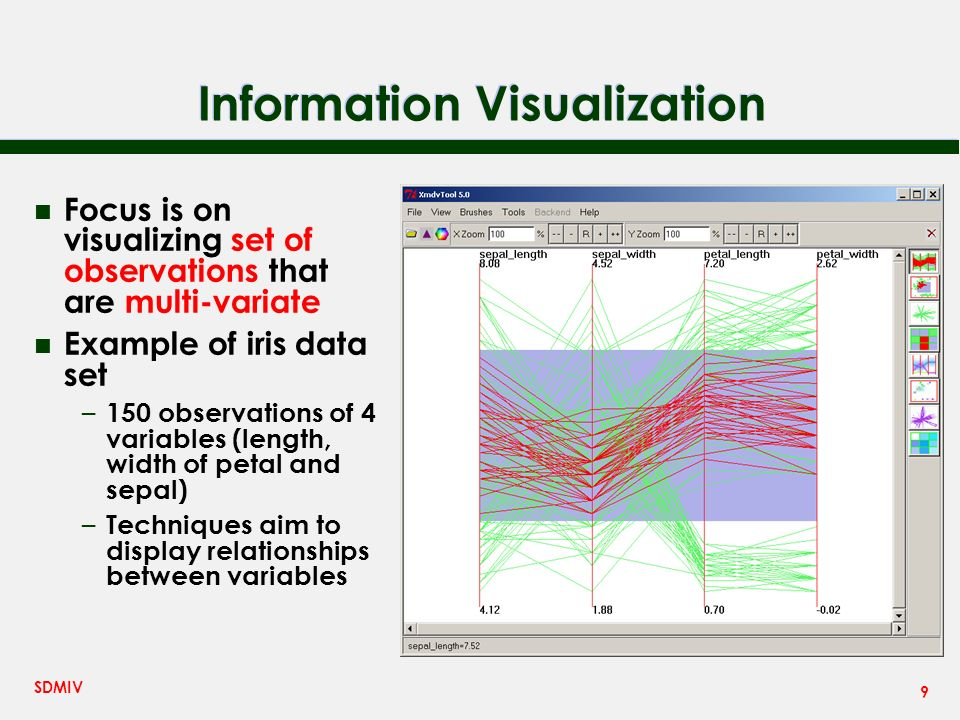 9 SDMIV Information Visualization n Focus is on visualizing set of observations that are multi-variate n Example of iris data set – 150 observations of 4 variables (length, width of petal and sepal) – Techniques aim to display relationships between variables