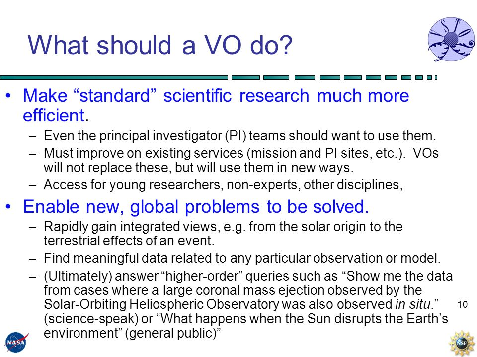 10 What should a VO do. Make standard scientific research much more efficient.