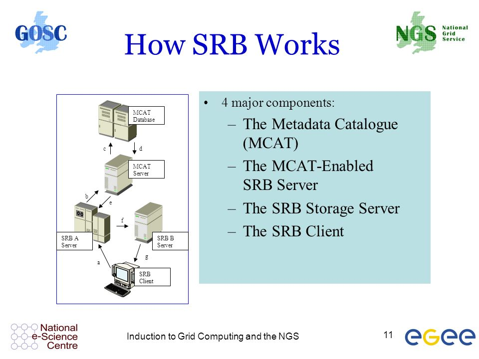 Induction to Grid Computing and the NGS 11 How SRB Works MCAT Database MCAT Server SRB A Server SRB B Server SRB Client a b cd e f g 4 major components: –The Metadata Catalogue (MCAT) –The MCAT-Enabled SRB Server –The SRB Storage Server –The SRB Client