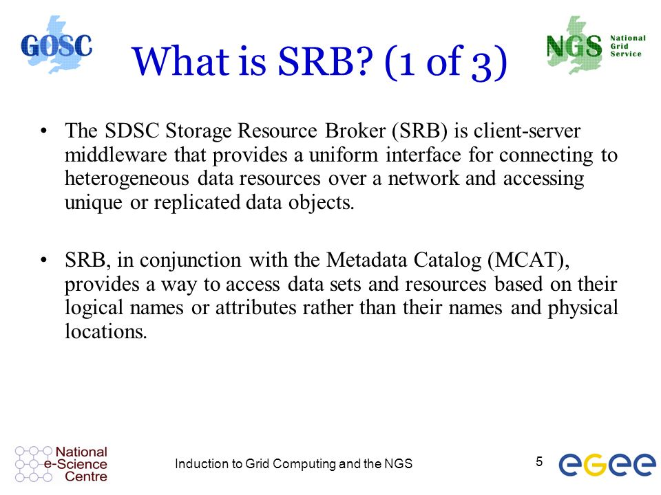 Induction to Grid Computing and the NGS 5 What is SRB.