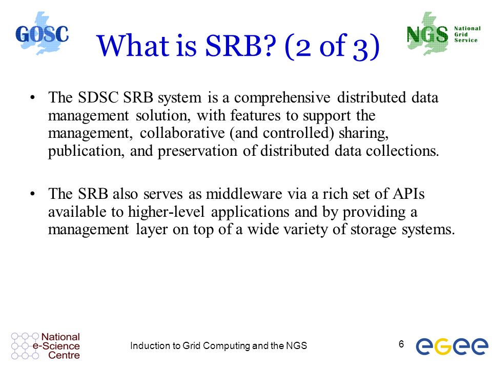 Induction to Grid Computing and the NGS 6 What is SRB.