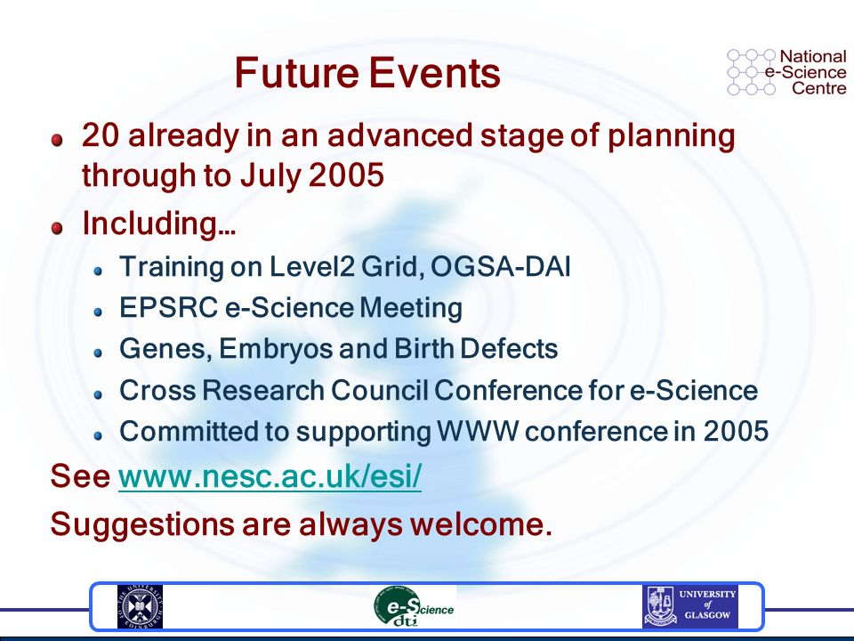 Future Events 20 already in an advanced stage of planning through to July 2005 Including… Training on Level2 Grid, OGSA-DAI EPSRC e-Science Meeting Genes, Embryos and Birth Defects Cross Research Council Conference for e-Science Committed to supporting WWW conference in 2005 See   Suggestions are always welcome.