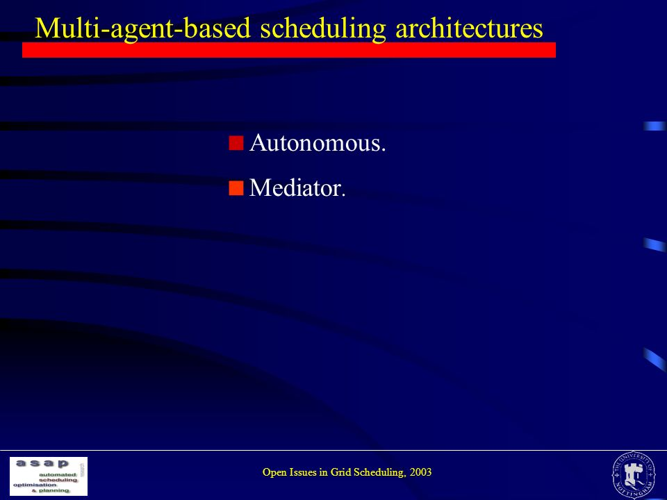 Multi-agent-based scheduling architectures Open Issues in Grid Scheduling, 2003 Autonomous.