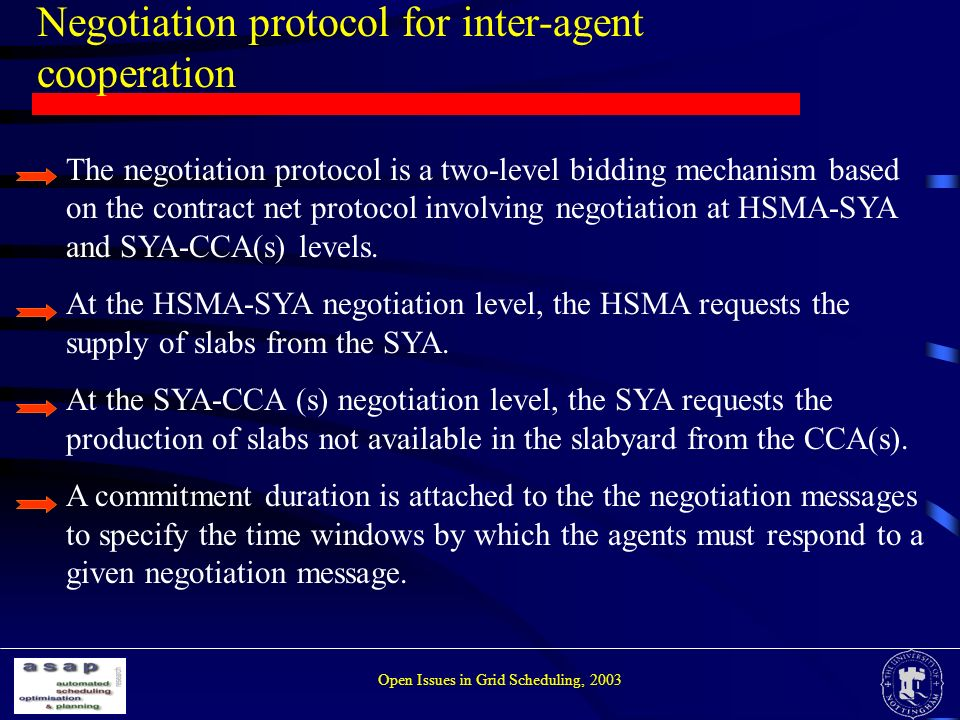 Negotiation protocol for inter-agent cooperation The negotiation protocol is a two-level bidding mechanism based on the contract net protocol involving negotiation at HSMA-SYA and SYA-CCA(s) levels.