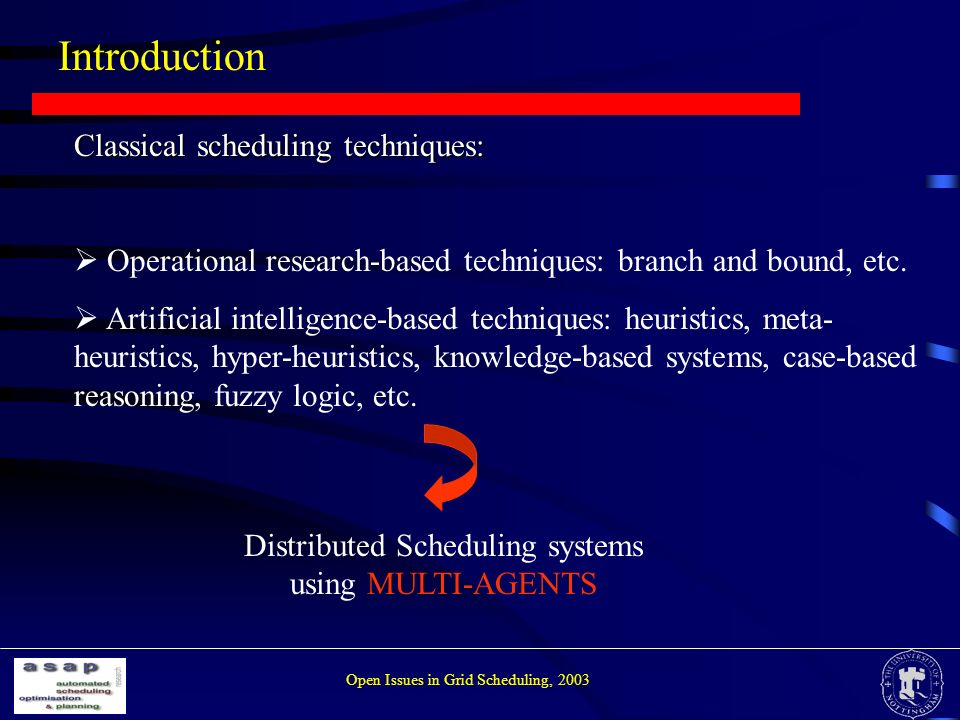 Introduction Open Issues in Grid Scheduling, 2003 Classical scheduling techniques: Operational research-based techniques: branch and bound, etc.