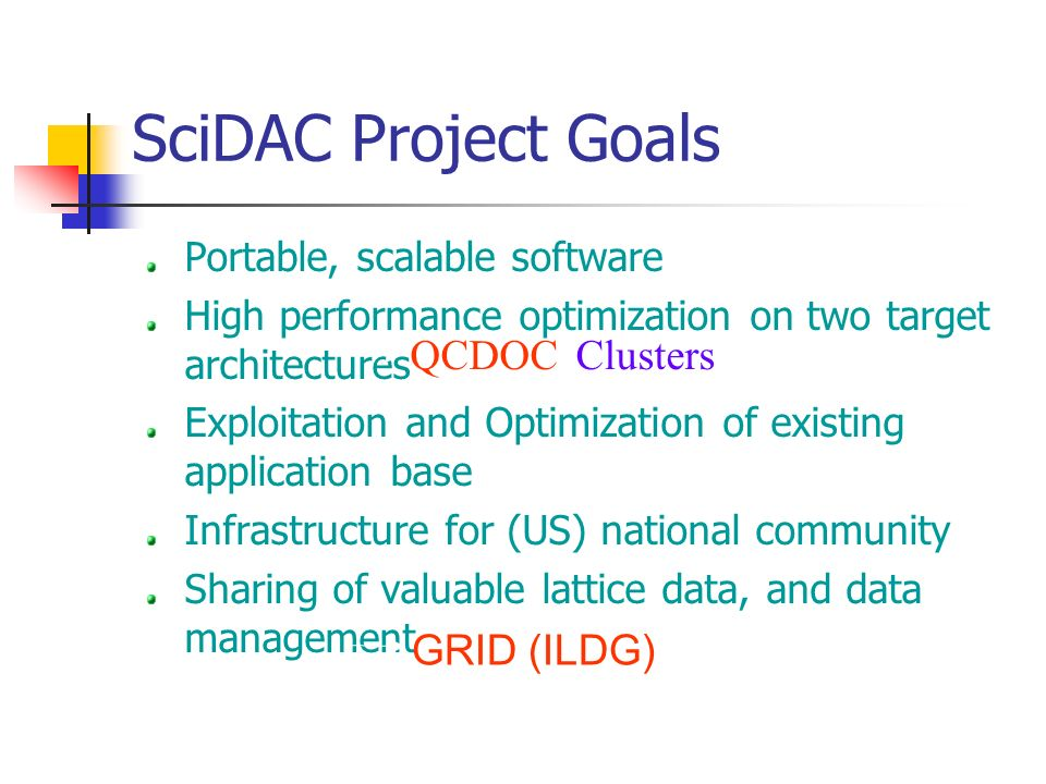 SciDAC Project Goals Portable, scalable software High performance optimization on two target architectures Exploitation and Optimization of existing application base Infrastructure for (US) national community Sharing of valuable lattice data, and data management GRID (ILDG) ClustersQCDOC