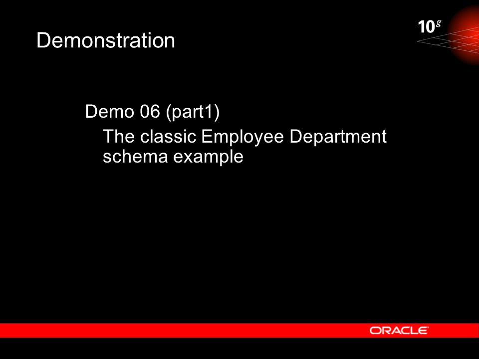 Demonstration Demo 06 (part1) The classic Employee Department schema example