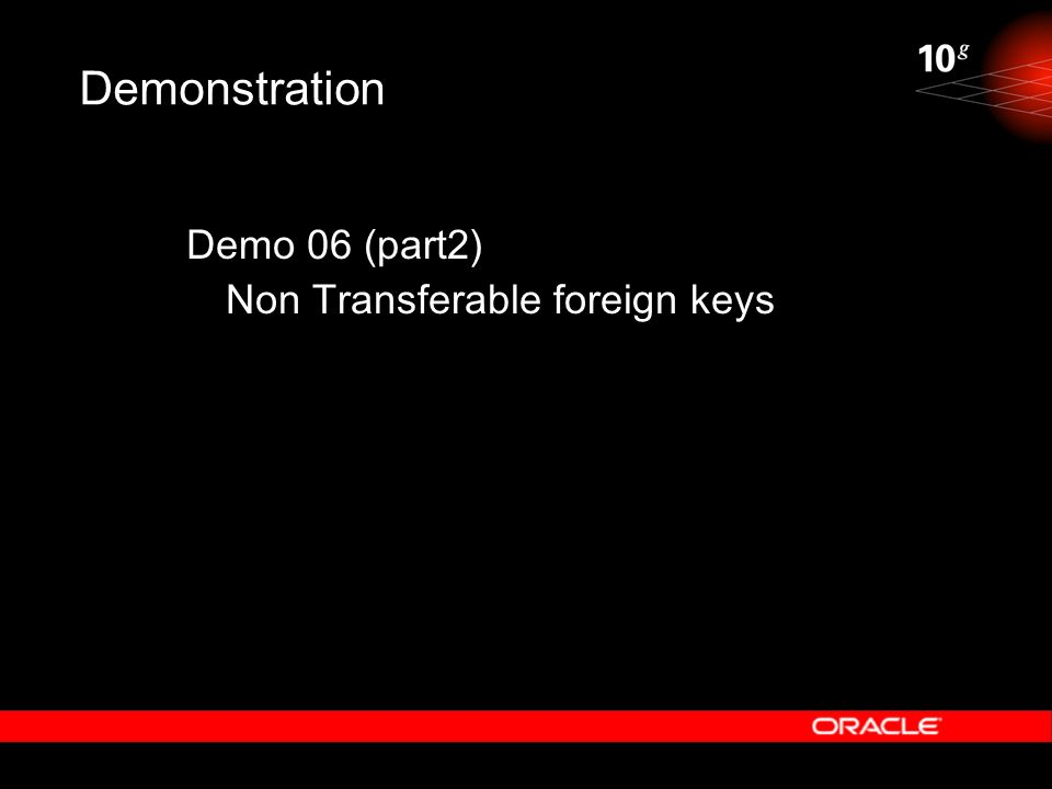 Demonstration Demo 06 (part2) Non Transferable foreign keys