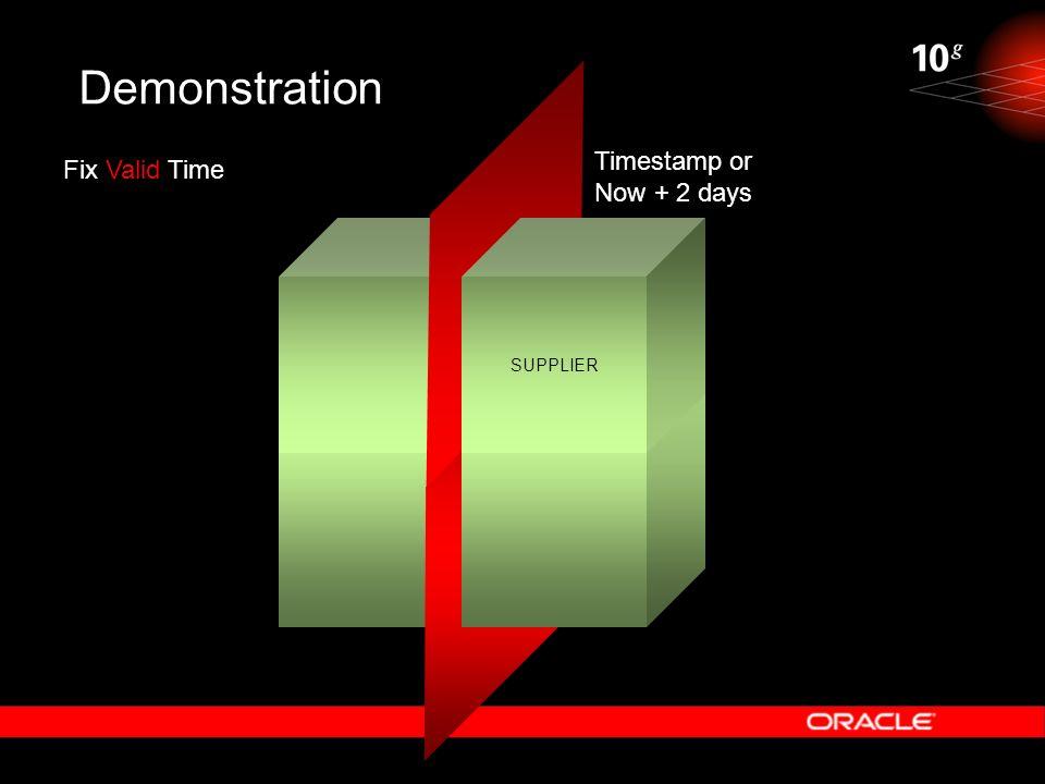 Demonstration SUPPLIER Fix Valid Time Timestamp or Now + 2 days