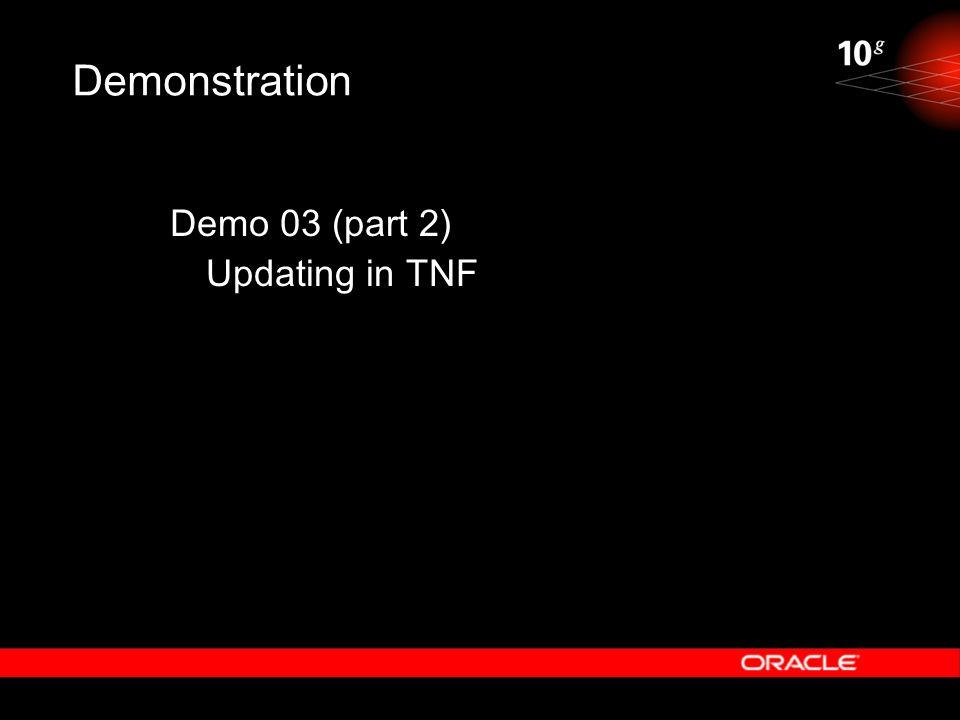 Demonstration Demo 03 (part 2) Updating in TNF