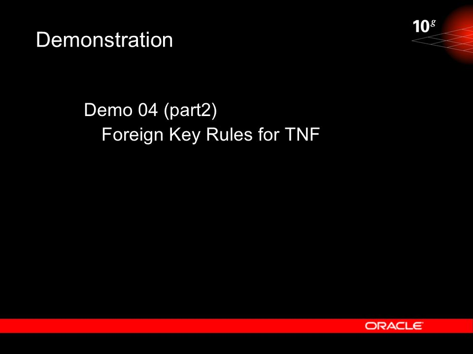 Demonstration Demo 04 (part2) Foreign Key Rules for TNF