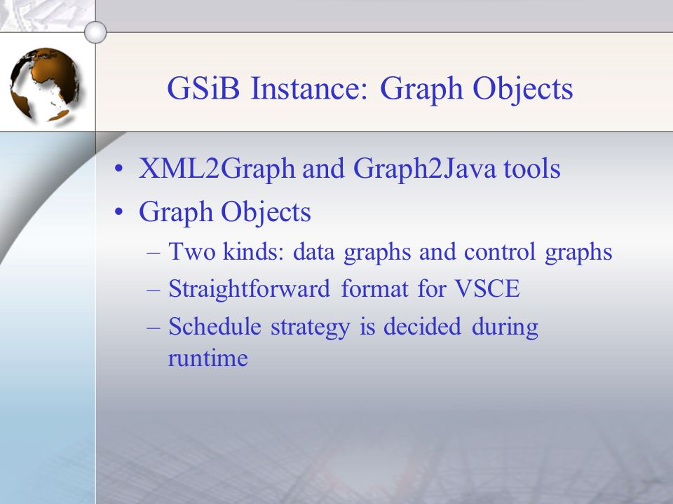 GSiB Instance: Graph Objects XML2Graph and Graph2Java tools Graph Objects –Two kinds: data graphs and control graphs –Straightforward format for VSCE