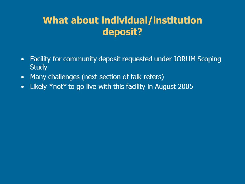 What about individual/institution deposit.