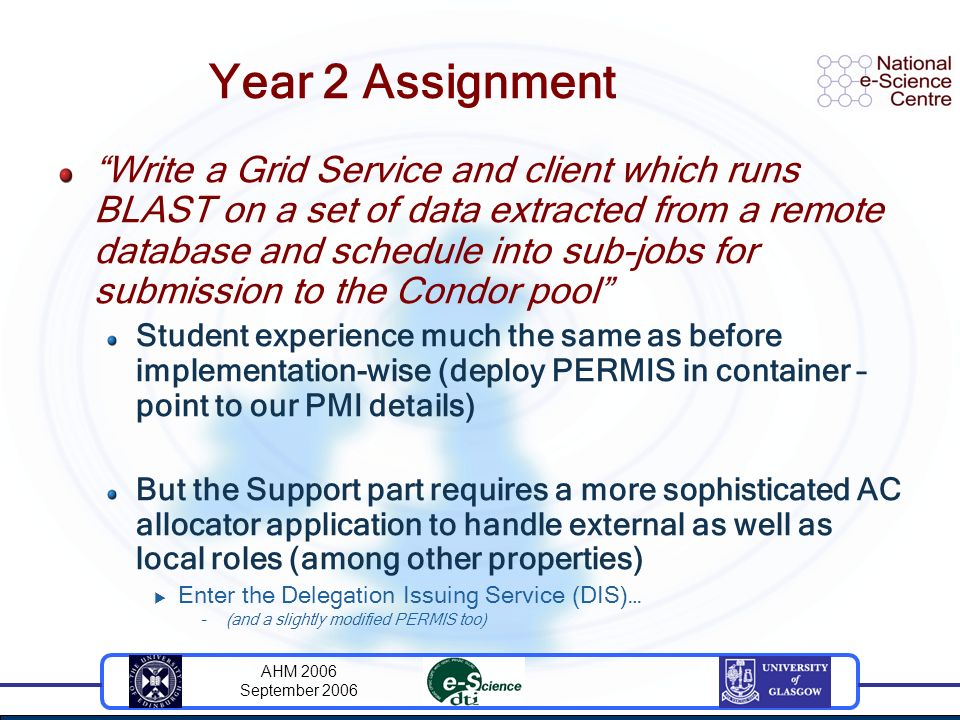 AHM 2006 September 2006 Year 2 Assignment Write a Grid Service and client which runs BLAST on a set of data extracted from a remote database and sched