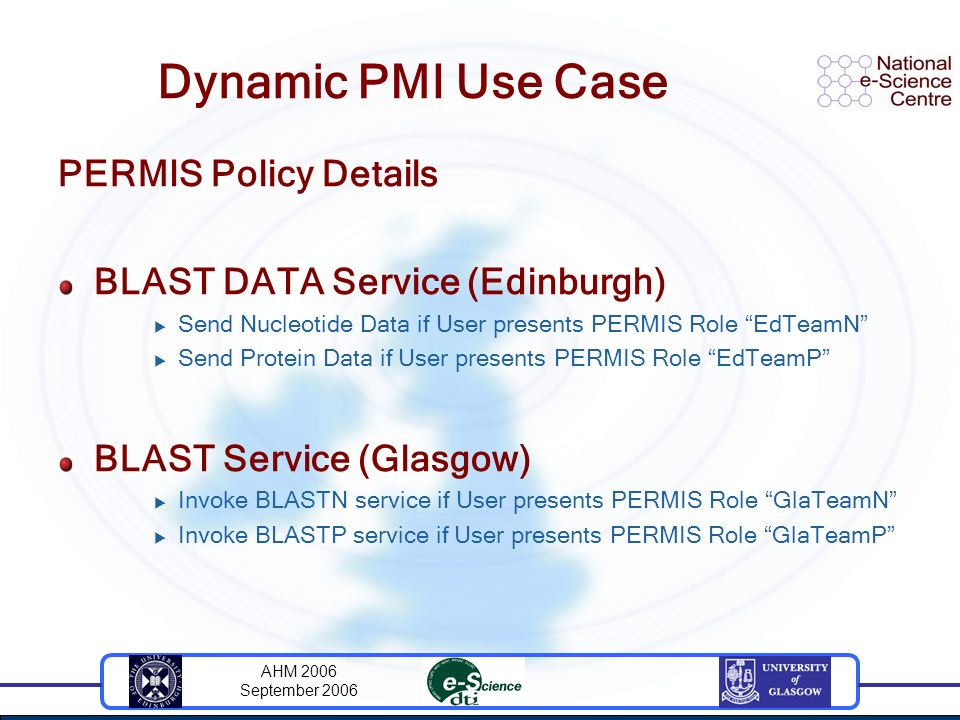 AHM 2006 September 2006 Dynamic PMI Use Case PERMIS Policy Details BLAST DATA Service (Edinburgh) Send Nucleotide Data if User presents PERMIS Role EdTeamN Send Protein Data if User presents PERMIS Role EdTeamP BLAST Service (Glasgow) Invoke BLASTN service if User presents PERMIS Role GlaTeamN Invoke BLASTP service if User presents PERMIS Role GlaTeamP