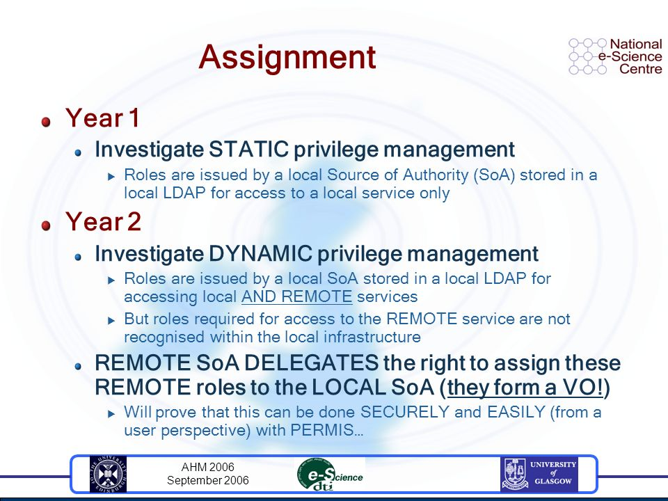 AHM 2006 September 2006 Assignment Year 1 Investigate STATIC privilege management Roles are issued by a local Source of Authority (SoA) stored in a local LDAP for access to a local service only Year 2 Investigate DYNAMIC privilege management Roles are issued by a local SoA stored in a local LDAP for accessing local AND REMOTE services But roles required for access to the REMOTE service are not recognised within the local infrastructure REMOTE SoA DELEGATES the right to assign these REMOTE roles to the LOCAL SoA (they form a VO!) Will prove that this can be done SECURELY and EASILY (from a user perspective) with PERMIS…