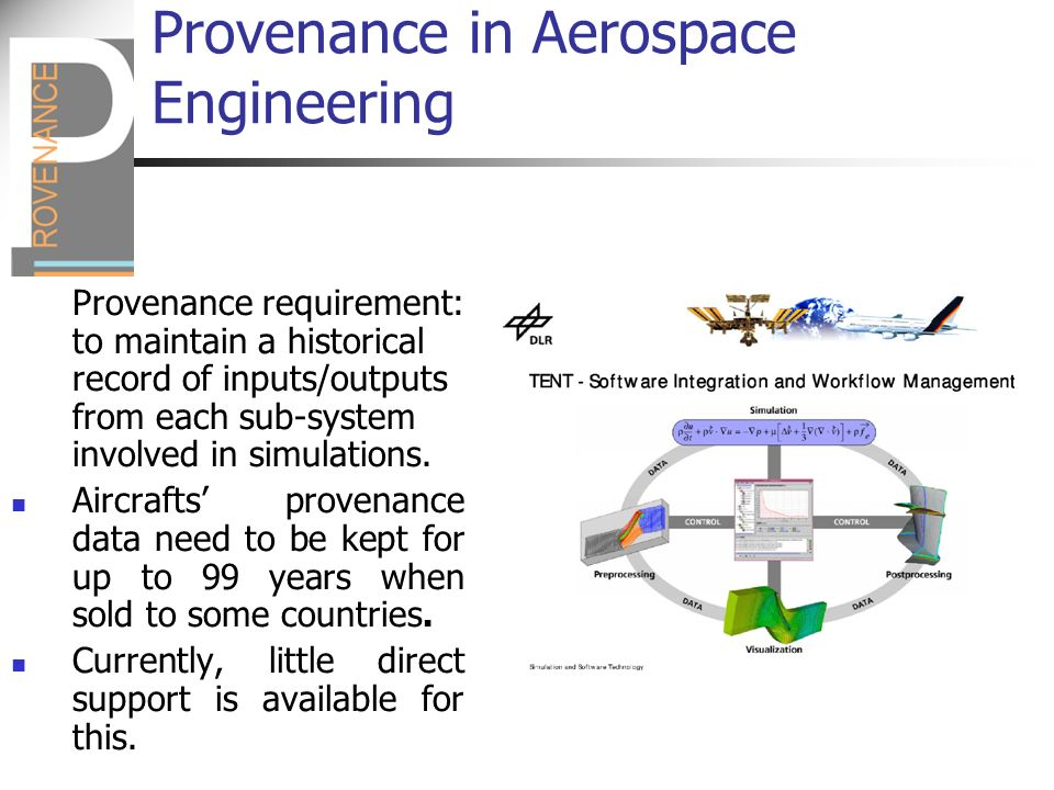 Provenance in Aerospace Engineering Provenance requirement: to maintain a historical record of inputs/outputs from each sub-system involved in simulations.