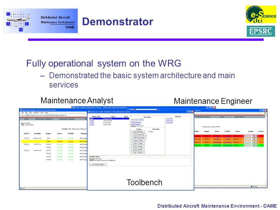 Distributed Aircraft Maintenance Environment - DAME Demonstrator Fully operational system on the WRG –Demonstrated the basic system architecture and m