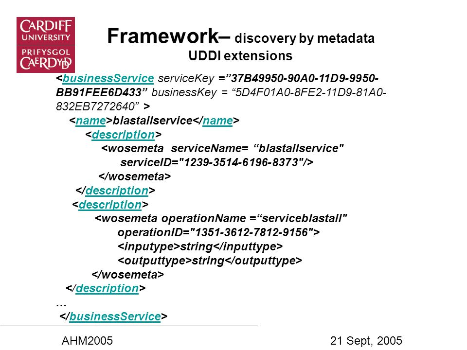 Framework– discovery by metadata UDDI extensions blastallservice businessServicename description <wosemeta serviceName= blastallservice serviceID= 1239-3514-6196-8373 /> description description <wosemeta operationName =serviceblastall operationID= 1351-3612-7812-9156 > string description … businessService AHM200521 Sept, 2005