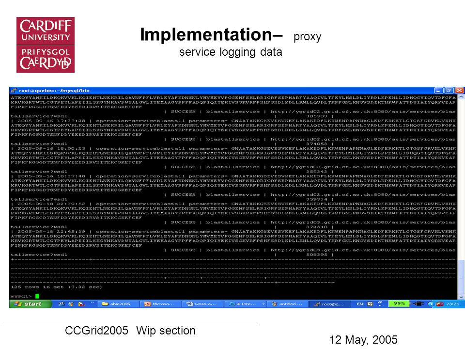 Implementation– proxy service logging data CCGrid2005 Wip section 12 May, 2005