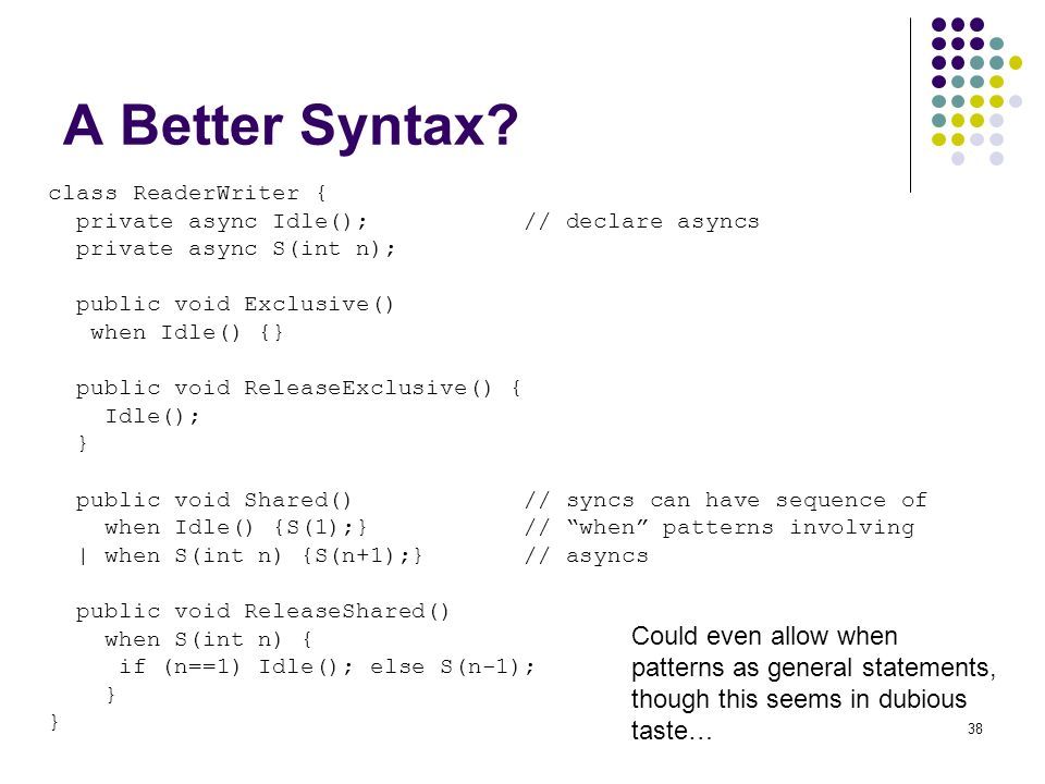 38 A Better Syntax? class ReaderWriter { private async Idle(); // declare asyncs private async S(int n); public void Exclusive() when Idle() {} public