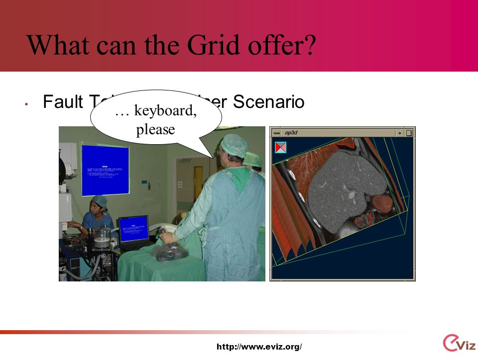 http://www.eviz.org/ What can the Grid offer Fault Tolerance - User Scenario … keyboard, please