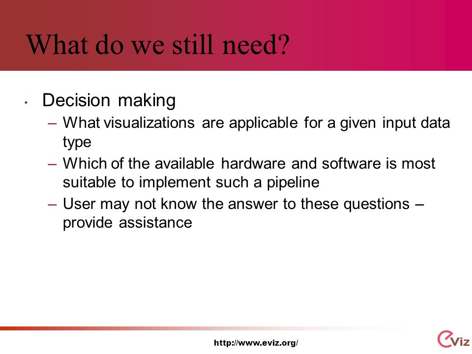 http://www.eviz.org/ What do we still need.