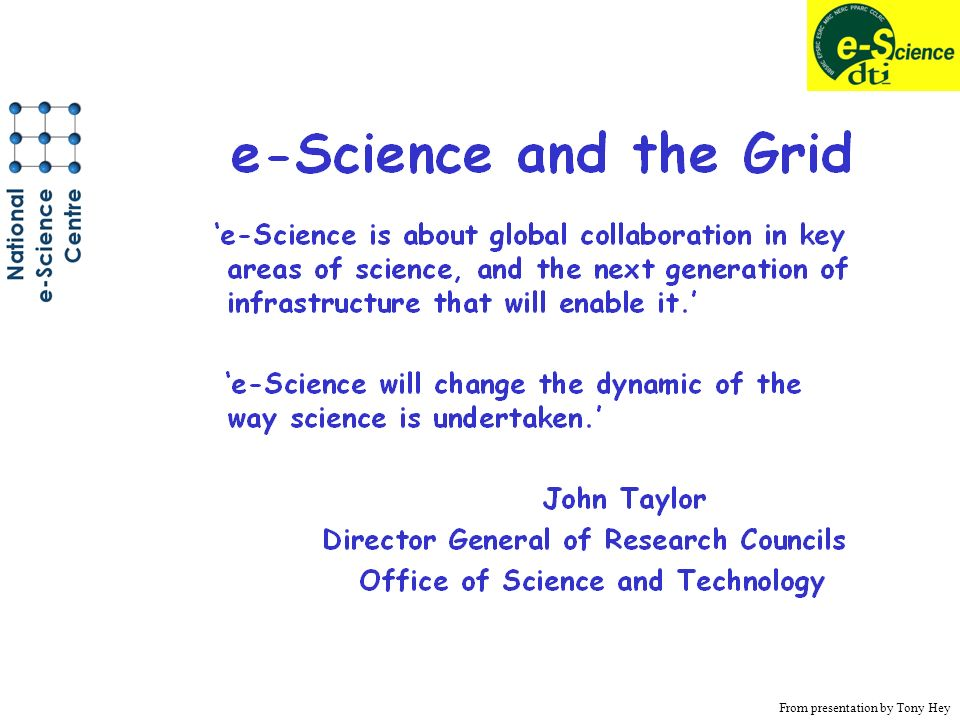 From presentation by Tony Hey
