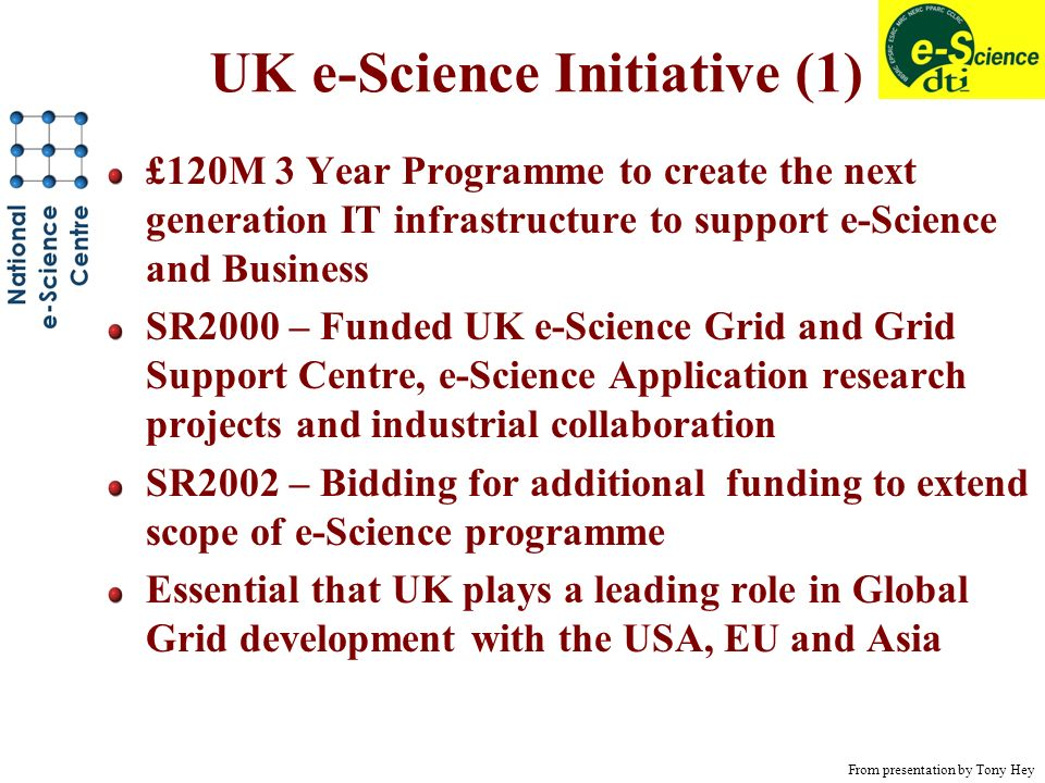 UK e-Science Initiative (1) £120M 3 Year Programme to create the next generation IT infrastructure to support e-Science and Business SR2000 – Funded UK e-Science Grid and Grid Support Centre, e-Science Application research projects and industrial collaboration SR2002 – Bidding for additional funding to extend scope of e-Science programme Essential that UK plays a leading role in Global Grid development with the USA, EU and Asia From presentation by Tony Hey