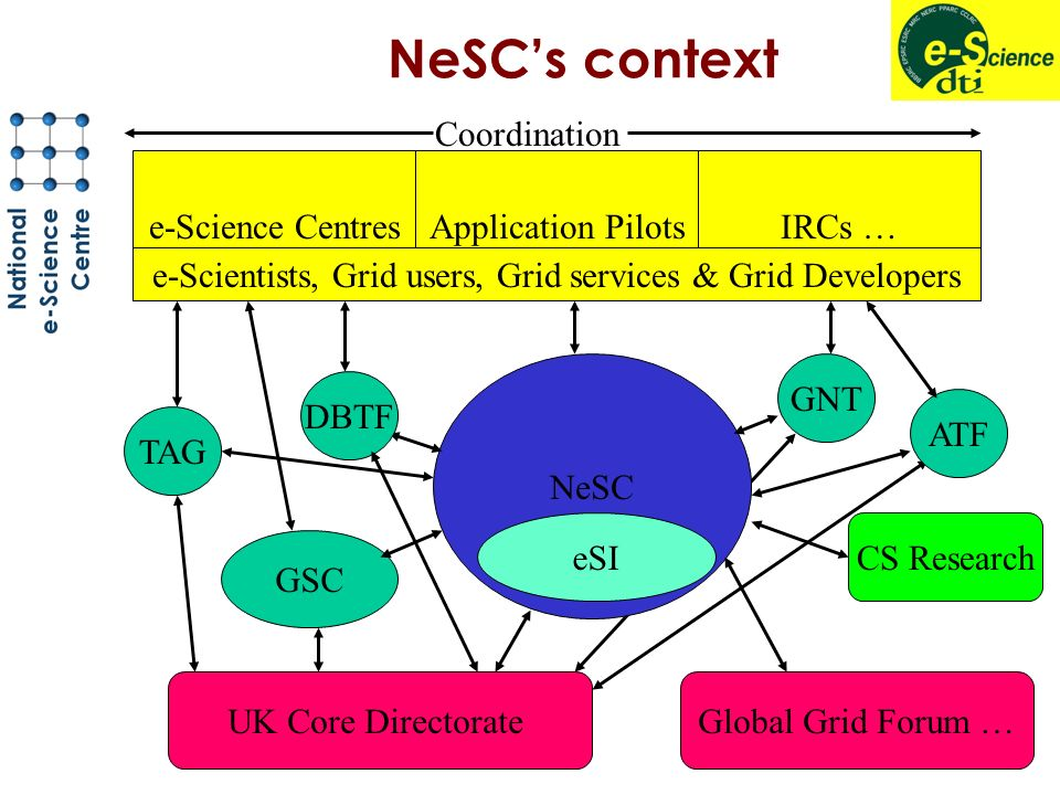 NeSCs context NeSC eSI GSC Application PilotsIRCs …e-Science Centres e-Scientists, Grid users, Grid services & Grid Developers UK Core DirectorateGlobal Grid Forum … CS Research TAG DBTF ATF GNT Coordination