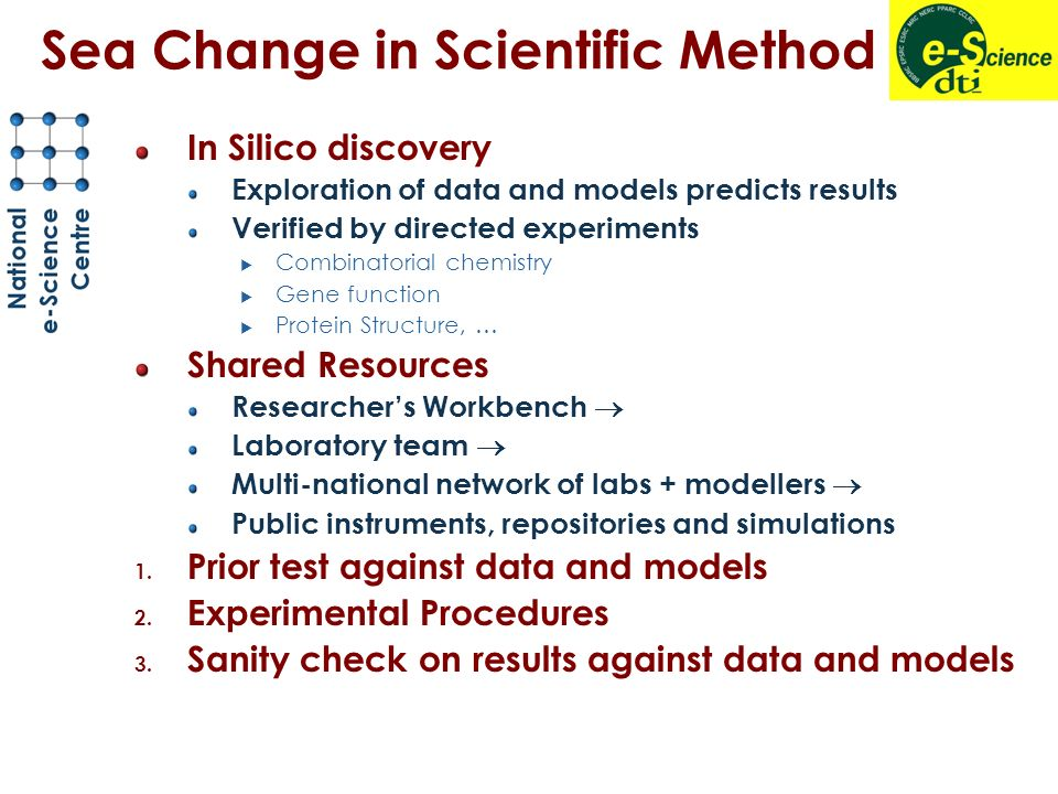 Sea Change in Scientific Method In Silico discovery Exploration of data and models predicts results Verified by directed experiments Combinatorial chemistry Gene function Protein Structure, … Shared Resources Researchers Workbench Laboratory team Multi-national network of labs + modellers Public instruments, repositories and simulations 1.