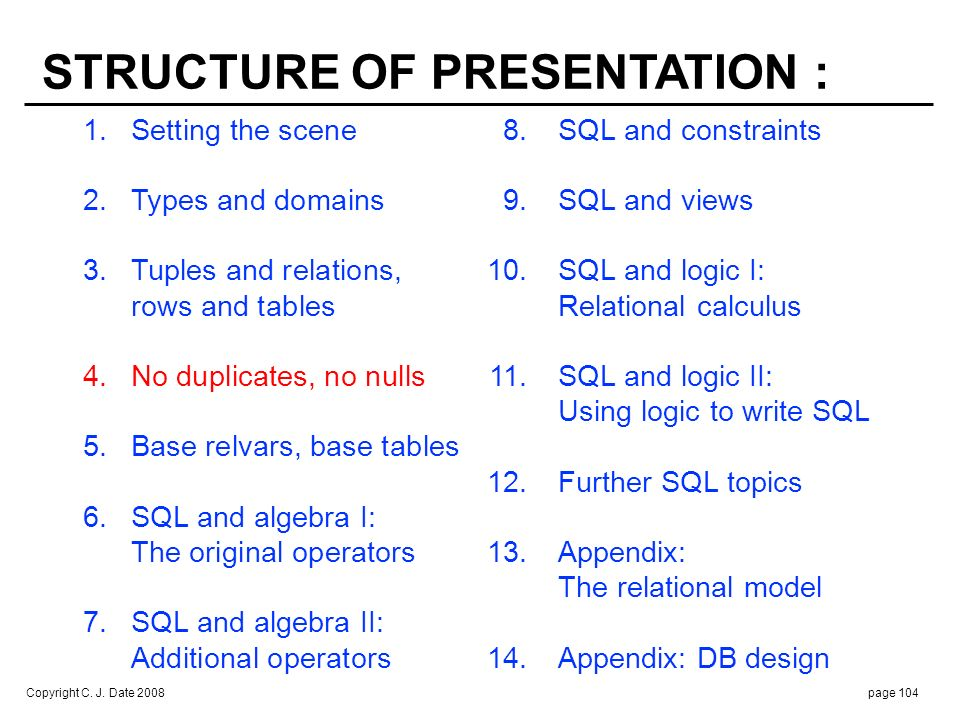 Copyright C. J. Date 2008page 104 1.Setting the scene 8.SQL and constraints 2. Types and domains 9.SQL and views 3.Tuples and relations, 10.SQL and lo