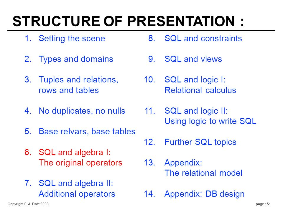 Copyright C. J. Date 2008page 151 1.Setting the scene 8.SQL and constraints 2. Types and domains 9.SQL and views 3.Tuples and relations, 10.SQL and lo