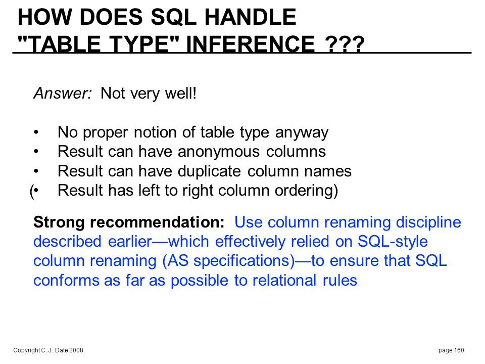 Copyright C. J. Date 2008page 160 HOW DOES SQL HANDLE