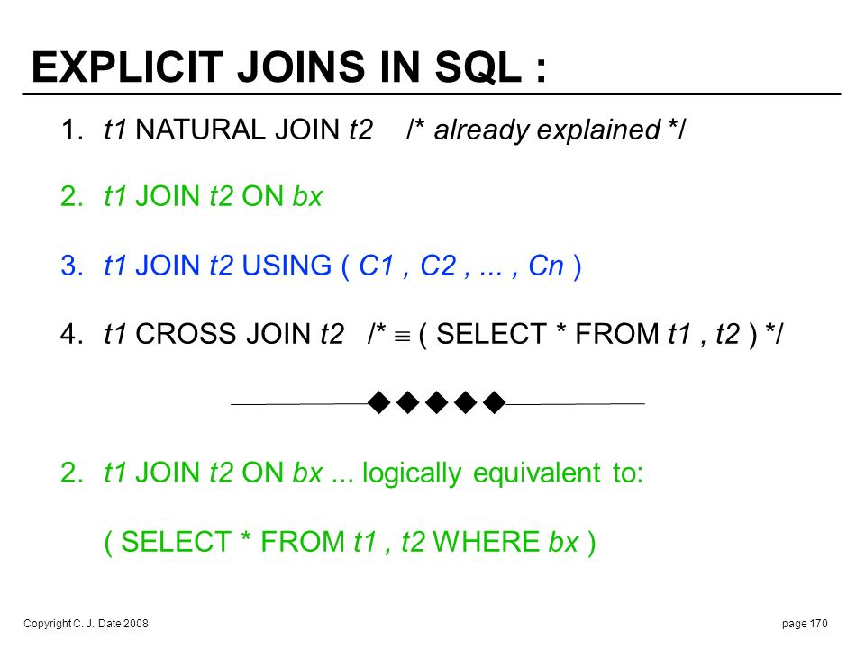 Copyright C. J. Date 2008page 170 1.t1 NATURAL JOIN t2/* already explained */ 2.t1 JOIN t2 ON bx 3.t1 JOIN t2 USING ( C1, C2,..., Cn ) 4.t1 CROSS JOIN