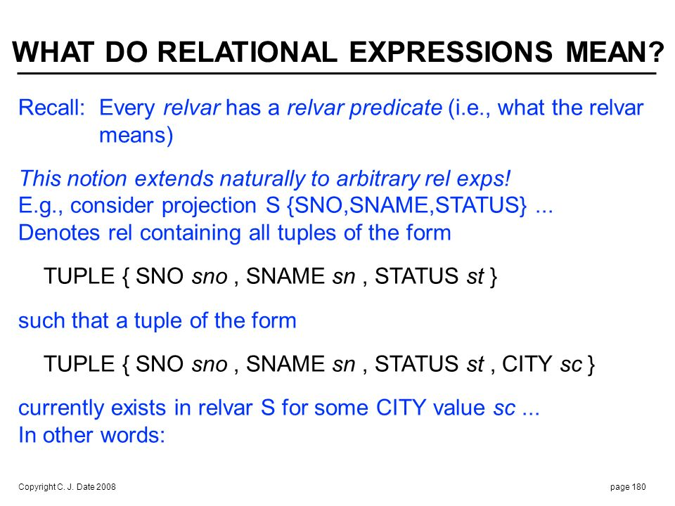 Copyright C. J. Date 2008page 180 Recall:Every relvar has a relvar predicate (i.e., what the relvar means) This notion extends naturally to arbitrary