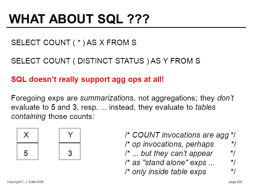 Copyright C. J. Date 2008page 208 WHAT ABOUT SQL ??? SELECT COUNT ( * ) AS X FROM S SELECT COUNT ( DISTINCT STATUS ) AS Y FROM S SQL doesnt really sup