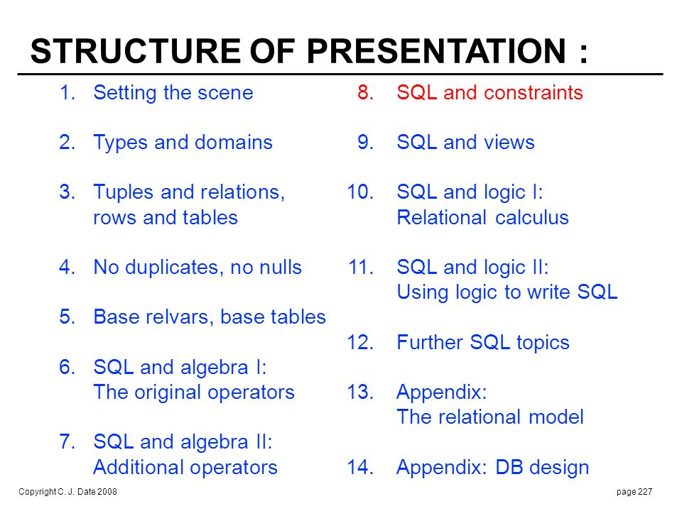 Copyright C. J. Date 2008page 227 1.Setting the scene 8.SQL and constraints 2. Types and domains 9.SQL and views 3.Tuples and relations, 10.SQL and lo
